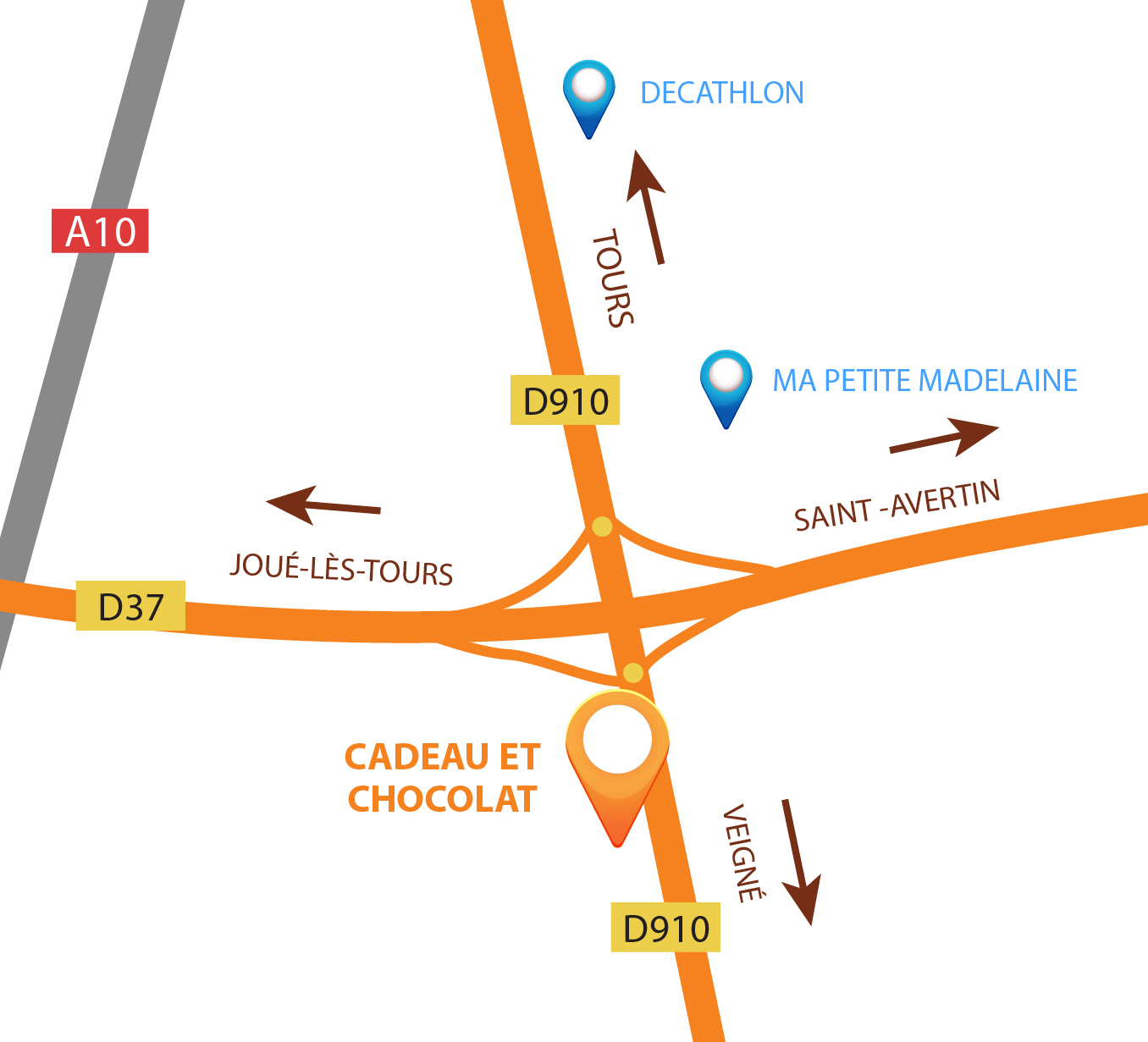 Plan d'accès chocolaterie Cadeau et Chocolat à Chambray Lès Tours