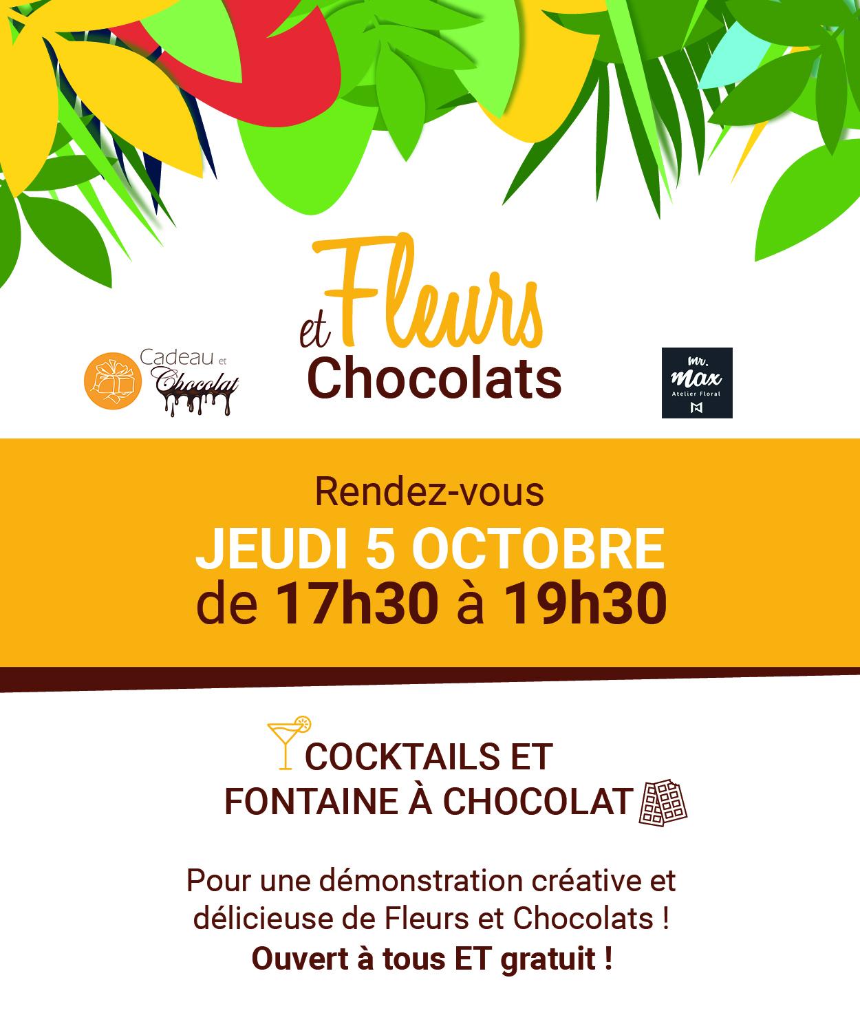 Invitation soirée fleurs et chocolats