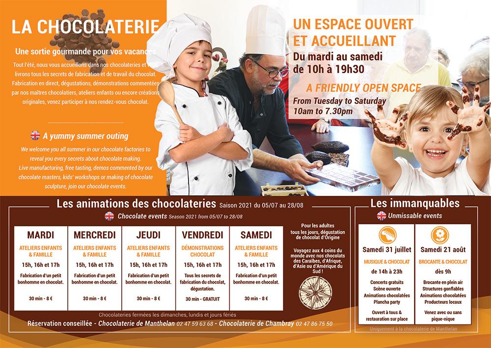 Programme été 2021 chocolaterie de manthelan
